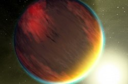 An artist's impression of an exoplanet with an atmosphere
