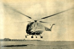 A Doman LZ-5, the one and only example of this type of helicopter made in Canada to be more precise, during a test flight. Jacques Gambu, « Le premier hélicoptère à pales encastrées: Doman LZ-5. » Aviation Magazine, 19 January 1956, 17.