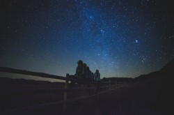 A group of people looking up at the night sky.