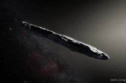 An artist's impression of the interstellar asteroid 'Oumuamua.