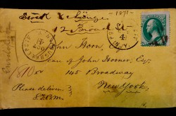 Envelope sent to John Horn from Samuel Morse in 1871. It appears between pages 470-71 in Horn's volume of The Telegraph in America.