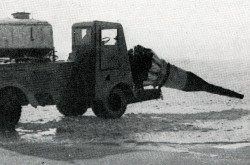 "This truck equipped with a Klimov RD-45 or VK-1 turbojet engine was one of the many vehicles used for snow clearance at Vnukovo international airport, Moscow, early 1958. W.E. Casley, ""Bea-line to Moscow."" The Aeroplane, 4 April 1958, 470."
