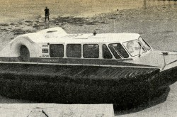 "The prototype of the Cushioncraft CC7 light utility hovercraft, St. Helens, Isle of Wight, England, April 1968. John Bentley, ""Latest Light Utility: Cushioncraft CC7."" Flight International (Air-Cushion Vehicles supplement), 23 May 1968, 61."