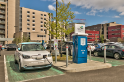 Electric vehicle charging station in Quebec, Canada.