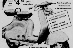 "A typical Innocenti Lambretta scooter. Anon. ""Advertising – Bentley's Cycles and Sports Limited."" Le Petit Journal, 10 August 1958, 110."
