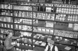 C.N.S.S. Storing ships - shelves of goods, Montreal, August 1942
