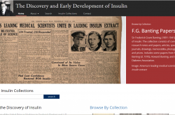 View of the University of Toronto Libraries website for the Insulin Collections.
