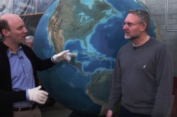 David Pantalony and Dave Schellenberg with the Rand McNally Globe