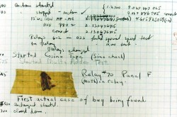 A page from the Harvard Mark II electromechanical computer's log, featuring a dead moth that was removed from the device.