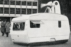 "The one and only Caravans International Hover-Sprite air cushion caravan, London, England. Anon., ""International News."" Air-Cushion Vehicles, January 1969, 9."