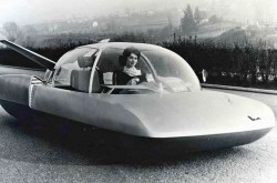 "The SIMCA Fulgur concept car. The French parachutist and model Colette Duval was at the controls. Anon., ""Actualités."" La Patrie du dimanche, 1 March 1959, 2."
