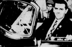 "Joseph Henri Maurice Richard at the wheel of the Škoda Felicia donated by Podniků Zahraničniho Obchodu Motokov, Prague, Czechoslovakia. Anon., ""–."" Le Devoir, 18 March 1959, 10."