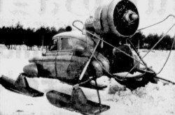 "A prototype of the Kamov Sever-2 aerosled in its element. Anon., ""'Mail Train' to North."" The Gazette, 26 March 1959, 2."