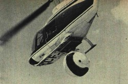 "A Canadian Westinghouse WESSCAM mount on a Bell Model 206 JetRanger helicopter. The fibreglass dome swung out of the way for takeoff and landing. Humphrey Winn, ""Canada's Aircraft Industry: A study in realistic independence."" Flight International, 3 April 1969, 523."