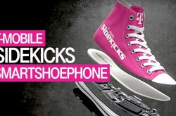 "A pink shoe is displayed with the words, ""T-Mobile Sidekicks Smart Shoe Phone."""