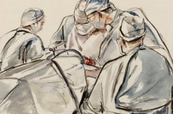 Operating Room: Painted by Charles Goldhamer in 1945, Beaverbrook Collection of War Art Canadian War Museum 19710261-3899