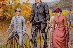 A gentleman on a crossframe safety bicycle escorts a gentleman on a high wheeler and a lady on a tricycle, circa 1890.