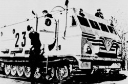 "One of the 3 Kharkovkiy Zavod Transportnogo Mashinostroyeniya imeni Malysheva Project 404 all terrain vehicles operated by the 4th Soviet Antarctic expedition of 1958-60. Anon., ""Ça et là."" La Patrie du dimanche, 3 May 1959, 12."