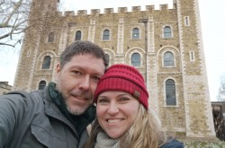 Couple selfie in front of the White Tower.