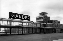 A black and white image of Gander Airport.