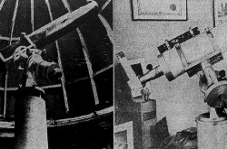 "The refracting telescopes of amateur astronomer Lucien E. Coallier, Ville de Laval, Québec. They were used for the observation of the Moon (left) and stars. Roland Prévost, ""À Ville de Laval, le meilleur observatoire d'amateur au Canada pour l'étude de la Lune."" La Presse, 7 June 1969, 77."