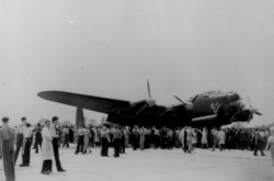 A Canadian-made Avro Lancaster of No. 428 Squadron (Ghost), RCAF, on display at the factory of Victory Aircraft Limited after its return from Europe, Malton, Ontario, late May 1945. CASM, 31975.