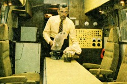 "Dr. William Richard Carpentier in the converted Airstream trailer known as the Mobile Quarantine Facility. Tom Alderman, ""Canada's men on the Moon shot."" Star Weekly, 28 June 1969, 6."