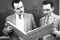 Bertram Brockhouse (left), a Professor at McMaster University, mentors a student in the application of neutron beams to study materials. Later, he would win the Nobel Prize in Physics in 1994.