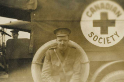 L. Bruce Robertson beside Canadian Red Cross truck, ca. [1914-1918] L. Bruce Robertson fonds, F 1374, Archives of Ontario, I0050290  Copyright: Queen's Printer for Ontario