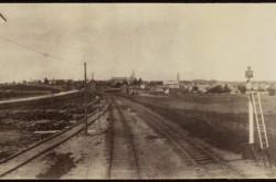 View along the rail line, Fergus, Ontario, ca. 1886–1887. Source: Library and Archives Canada/e010865831