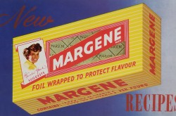 The cover of a recipe book, featuring a yellow box of Margene on a blue background.