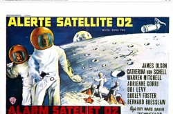 Une affiche des versions de langue française et néerlandaise du film de science-fiction britannique Moon Zero Two.