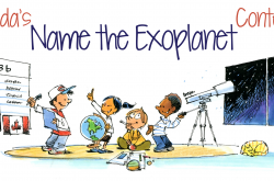 An drawing of students looking through a telescope and discussing different names for an exoplanet