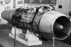 "An example of the Swedish STAL Skuten turbojet engine on display, under guard, in Stockholm, Sweden. Anon., ""Production – First Swedish Turbojet Revealed."" Aviation Week, 27 March 1950, 36."