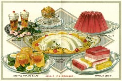 "Insert from Jell-O recipe book showing images of syllabub, maple walnut Jell-O, cherry Jell-O, stuffed tomato salad, pineapple mouse, and marbled Jell-O. (""JELLO- 10 c A PACKAGE"")"