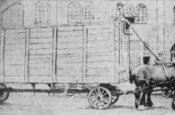 "The crate containing Jean Versailles' Blériot Type XI on the specially-equipped horse-driven truck belonging to Shedden Forwarding Company Limited, Montréal, Québec. Anon., ""Le premier aéroplane à Montréal."" La Presse, 28 May 1910, 12."