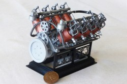 A photo of the finished and freshly painted model of the Curtiss engine