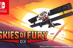Illustration of a biplane, the Nintendo Switch™ logo and text over image: Skies of Fury DX