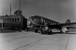 The first Douglas DC-3 airliner delivered to Trans-Canada Air Lines, Montreal (Dorval) Airport, Dorval, Québec, circa 1945-48. CASM, negative number 25515
