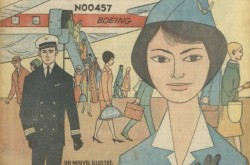"Jani Moreau, female flight attendant as imagined by Québec artist Nicole Lapointe. Anon., ""Un nouvel illustré: Jani hôtesse de l'air."" Claire, 15 September 1960, cover."