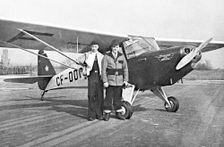 The first Fleet Model 80 Canuck light / private airplane, Fort Erie, Ontario, March 1946. This aircraft belonged to Sturgeon Air Services Limited of Fredericton, New Brunswick. CASM, negative number KM-07962