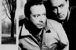 The main actors of the Société Radio-Canada television show CF-RCK, Yves Létourneau (on the right) and René Caron. Anon., « Une scène de CF-RCK avec René Caron et Yves Létourneau. » La semaine à Radio-Canada, from 2 to 8 January 1960, cover.