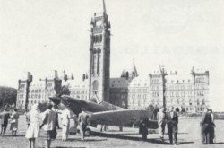 "The Supermarine Spitfire on display for the 20th anniversary of the Battle of Britain, Parliament Hill, Ottawa, Ontario, 18 September 1940. Anon., ""News roundup – Battle of Britain ceremonies."" Aircraft, November 1960, 58."