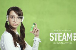 "A young girl wears a white shirt and protective glasses, as she holds a beaker of green liquid. The image is set against a lime green backdrop, and the words, ""Ingenium-NSERC STEAM Horizon Awards"" are visible in white lettering."