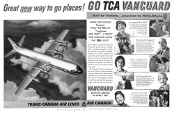 "An advertisement announcing the introduction into service of Trans-Canada Air Lines' Vickers Vanguard short to medium range airliner. Anon., ""Advertisement – Trans-Canada Air Lines."" Maclean's, 3 December 1960, 8-9."
