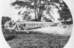 "Le Bell Modèle 47 utilisé par Airspray Limited, Ontario. Anon., ""Helicopter – Down on the Farm."" Canadian Aviation, septembre 1947, 25."
