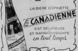 "A rather sober advertisement for F.A. Fluet Enregistré's La Canadienne spruce beer. Anon., ""Advertisement – F.A. Fluet Enregistré."" L'Action catholique, 4 January 1951, 5."