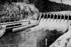"A view of the Warsak Dam, northern West Pakistan. Anon., ""Inauguration du barrage de Warsak."" Le Droit, 27 January 1961, 12."