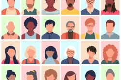 A colourful, cartoon-style illustration depicts four rows of different faces, with six faces in each row. Each face is devoid of features, but shows distinctive skin tones, hair, and clothing.