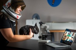 A woman wearing an astronaut's helmet holds a rabbit up to the camera of a laptop, which is open in front of her. Children's faces are visible on the laptop screen via videoconferencing.